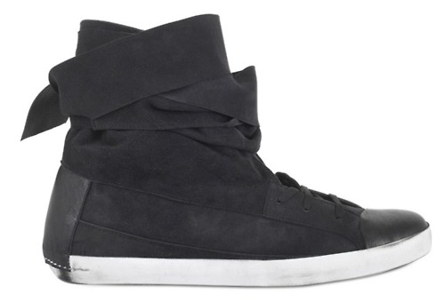Wrapped High Top Sneaker in Black