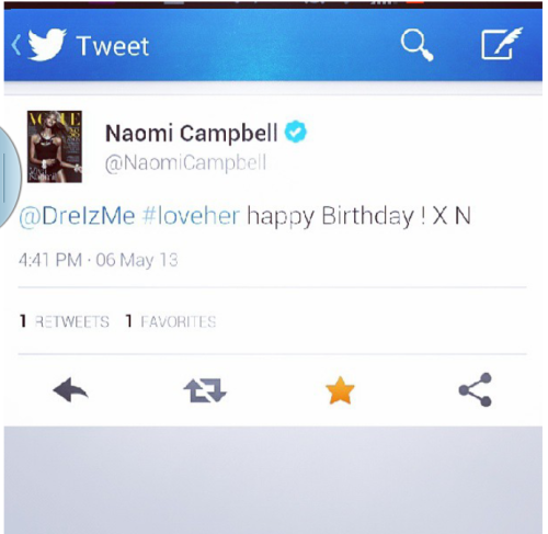 My BFF Naomi wished me a happy birthday on Twitter