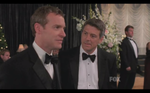 """Jimmy, where's my money?"" Tate Donovan(Jimmy Cooper) and Christopher Cousins(Paul Fischer) in dispute over misappropriated funds"