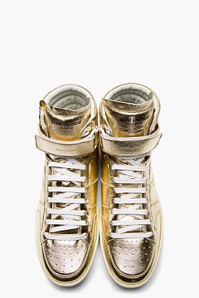 Saint Laurent Hi-Top Gold Sneakers